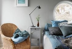 decordemon: Wooden house by the sea Master Bedroom Design, Home Bedroom, Bedroom Decor, Casual Bedroom, Gray Bedroom, Scandinavian Cottage, Sweden House, Sweet Home, Inside Home