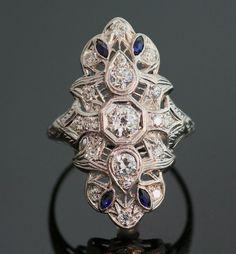 Antichi platino diamante e zaffiro anello