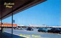Southside Plaza Shopping Center - circa 1950s     Colorful little shopping center (especially that groovy looking GC Murphy Company store!)