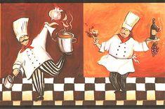 wall borders for kitchen | Italian Fat Chef Wallpaper Border WT1086B cafe kitchen fat chef decor