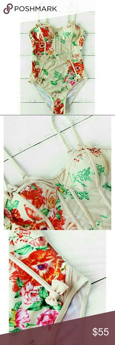 COMING VERY SOON!! LIKE TO BE NOTIFIED OF ARRIVAL! Repurchased more of these beauties! Gorgeous floral bustier one piece swimwear with cute bow details! Swim