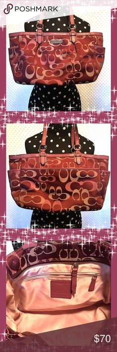 Coach Purse Super Cute Coach Purse!! 16' Width 9' Length   Colors are Different Shades of Purple. In Awesome Shape. 100% Authentic Coach Bags Shoulder Bags