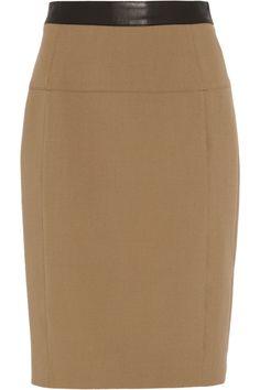 Burberry London|Leather-trimmed stretch-crepe pencil skirt|NET-A-PORTER.COM