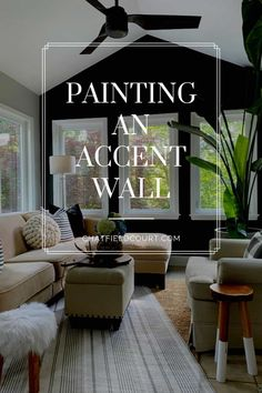 Painting an accent wall in a small sunroom with Benjamin Moore Wrought Iron paint. A simple way to add a feature wall and highlight a a beautiful view. Small Space Living, Small Spaces, Decorating On A Budget, Interior Decorating, Benjamin Moore Wrought Iron, Wrought Iron Paint, Painted Kitchen Island, Popular Color Schemes, Small Sunroom
