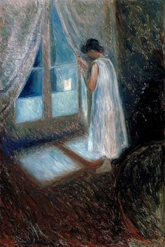 tryagainr:  Edvard Munch - Girl Looking out the Window, 1893