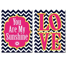 Preppy Set of 2 Modern LOVE Chevron Pattern You Are My Sunshine 8x10 Prints Wall Art Decor Abstract Picture Home Pink Navy Yellow