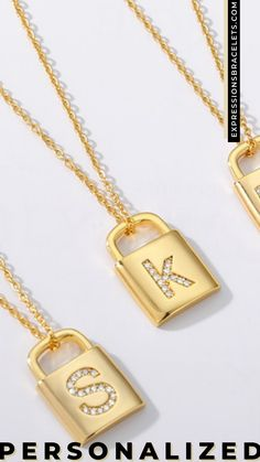 """CZ gold stainless steel padlock chain dainty initial necklace. Made of non tarnish metal that is also hypoallergenic and nickel free. The chain is a sturdy 18"""" chain attached to a gold padlock initial of your choice. Makes the perfect gift for yourself or someone you love. #namenecklace Dainty Necklace, Name Necklace, Initial Necklace, Arrow Necklace, Bridesmaid Gifts, Bridesmaids, Gifts For Friends, Gifts For Her, Personalized Gifts For Mom"""