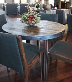 Round Wood And Metal Cafe And Bistro Table, Reclaimed Wood Top, Steel Frame    Free Shipping, Dining Table And Bench