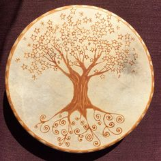 14 Spirit Tree Hand-Painted Shamanic Frame Drum by LucidPath