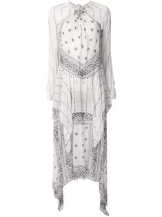 Ivory long sleeve bandana knot dress from Dion Lee featuring a knot detail, long sleeves, an asymmetric hem, a paisley pattern, a loose fit and a long length. Paisley Design, Paisley Pattern, Bandanas, Bandana Dress, Dion Lee, Knot Dress, Asymmetrical Design, Paisley Dress, Kylie Jenner