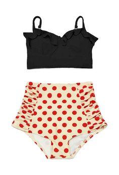 Schwarz Midkini Top und Creme rot Polka Dot Polkadot Retro Vintage hohe Taille Taille Badeanzug Bademode Bikini set zweiteilige Bade Anzug S M von venderstore auf Etsy https://www.etsy.com/de/listing/181933601/schwarz-midkini-top-und-creme-rot-polka