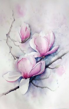 Das angebotene Aquarell ist etwas größer als Ich male auf The offered watercolor is slightly larger than I'm painting on …, Silk Painting, Watercolour Painting, Painting & Drawing, Watercolors, Easy Watercolor, Arte Floral, Watercolor Cards, Watercolor Flowers, Art Sur Toile