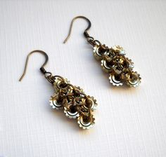 6 Nut #Earrings - #Golden - Lush Beads #Industrial #Jewelry #thecraftstar $18.00