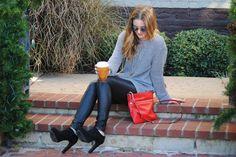 Leather leggings. Black heeled booties. Grey over sized sweater. Red Kate spade cross body. Coffee. Kendra Scott!
