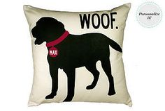 One Kings Lane - Home Sweet Home - Personalized Blck Lab 20x20 Pillow, Sand