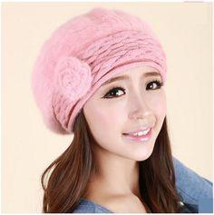 womens rabbit fur flower beret hat for winter