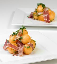 Melon Ball Salad with Mint and Prosciutto - www.djfoodie.com