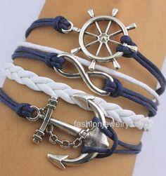 Navy Blue Wax Cord And White Leather Braid Anchor Bracelet Rudder Bracelet Infinity Bracelet Friendship Gift Christmas Gift. http://www.storenvy.com/products/14360232-navy-blue-wax-cord-and-white-leather-braid-anchor-bracelet-rudder-bracelet-i