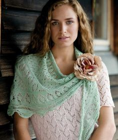 Fichu im Lace-Muster, 02201 #MerinoFineWool
