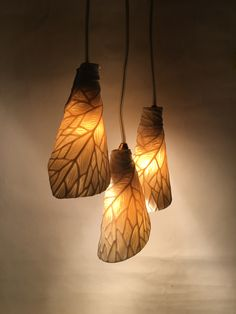 Porcelain leaf shades - hand carved- Rika Herbst