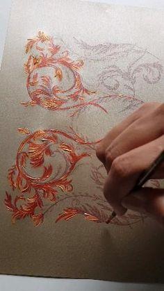 Flower Painting Canvas, Fabric Painting, Painting & Drawing, Fabric Paint Designs, Wall Art Designs, Ornament Drawing, Plaster Art, Turkish Art, Hand Art