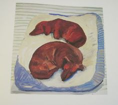 Painting of dachshunds sleeping.  View from the Birdhouse: Dear Abby: David Hockney's Dog Days