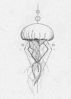 dessin tatouage méduse géométrique