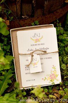 Vintage floral wreath wedding invitation for garden wedding. #floralwedding #weddinginvitation