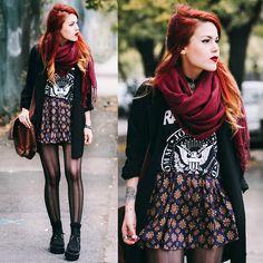 Red scarf, black blazer, black graphic tee, printed A-line skirt, vertical striped tights, brown bag, black socks, creepers.