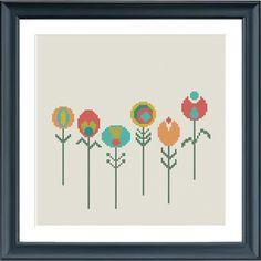 cross stitch pattern flowers little retro flowers by Happinesst