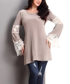 Mocha Lace Bell-Sleeve Tunic - Plus