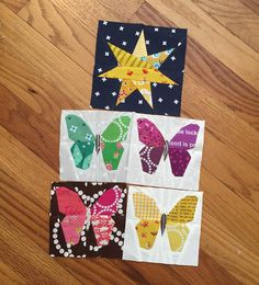 Adding some butterflies and a night star to @akchrissymae traveling quilt.  I adore her color palette....it's going to be a striking quilt.  Butterfly pattern from @tartankiwi and the star is called a seven point star.  #thesecretlifeoftravelingquilts #paperpieced #smallbutterfly #tartankiwi