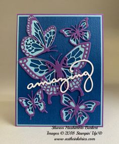 Butterfly Beauty Thinlits in the 2019 Stampin' Up! Occasions Catalog in Blueberry Bushel, Gorgeous Grape and Balmy Blue. Butterfly Cards, Flower Cards, 1st Birthday Cards, Alcohol Ink Crafts, Popular Crafts, Bee Cards, Beautiful Handmade Cards, Get Well Cards, Homemade Cards