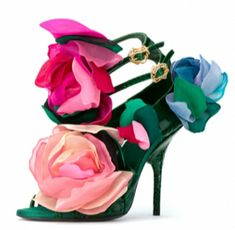 Bruno Frisoni for Roger Vivier Haute Couture 2009 Green Snakeskin Sandals with Silk Flowers