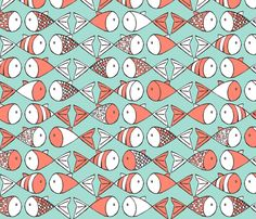 Go Fish - Coral and Mint fabric by papercanoedesign on Spoonflower - custom fabric