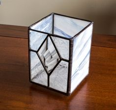 Stained Glass Votive Candle Holder Snow and Ice by KolorWavesGlass