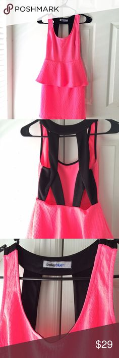 🎉 SALE 🎉 Hot Pink Neon Peplum Dress SMALL Hot neon pink dress. Brand new without tags and a gorgeous back detail. My entire closet is on sale for $10 or LESS Bailey Blue Dresses Mini