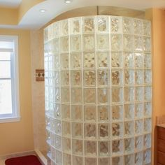 Curved glass Block Shower