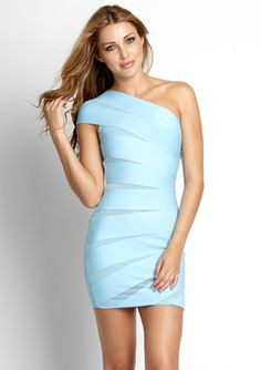 Wow Couture mesh paneled bandage dress.  With nude strappy heels for LV.