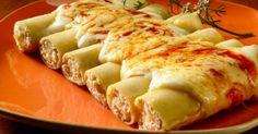 Confira a receita do canelone de queijo. Essa dica rende 10 porções. Leia também: Canelone de peixes com legumes Canelone de berinjela com ricota Receita de lasanha ao molho agridoce Ingredientes: 1 pote de ricota amassada 4 colheres (sopa) de queijo mussarela ralado 4 colheres (sopa) de queijo parmesão ralad
