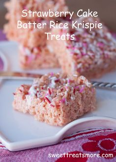Sweet Treats & More: Seven Days of Sweets: Strawberry Cake Batter Rice Krispie Treats (sub strawberry cake mix for red velvet?)