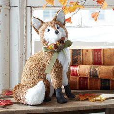 Natural Sitting Fox - Large