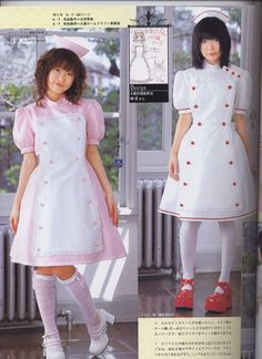 I've wanted to make a lolita outfit inspired by nurse uniforms for a while. Still haven't gotten around to it though. The pic is from Goth Loli vol. 3.