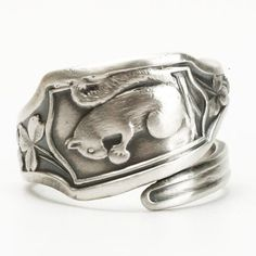 Squirrel Ring Clover Leaves Sterling Silver Spoon Ring by Spoonier