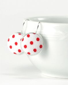 Red and White Polka Dots - Silver Toned Leverback Earrings Red White Classic Shabby Cottage Chic Fabric Covered Buttons Spring Jewelry by PatchworkMillJewelry