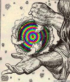 trippy psychedelic drugs stars moon acid lsd earth clouds shrooms ...
