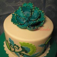 Teal cake topper