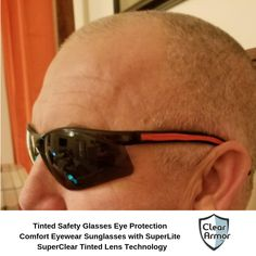 2 Pack Tinted Safety Glasses Eye Protection Comfort Eyewear Sunglasses with our SuperLite and SuperClear Tinted Lens Technology
