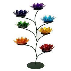 Chakra Baum mit 7 Lotus Capiz Muschel Teelichthalter Größe M Gold - Silberrand in Möbel & Wohnen, Dekoration, Kerzen & Teelichter   eBay