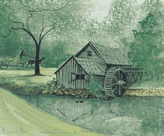 P Buckley Moss ~ Summer at Mabry Mill (Artist's Proof) Art Loft, Moss Art, Water Mill, Sign Printing, American Artists, Prints For Sale, Illustration Art, Landscape, Favorite Things